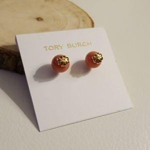Tory Burch Coral stone pearl earrings